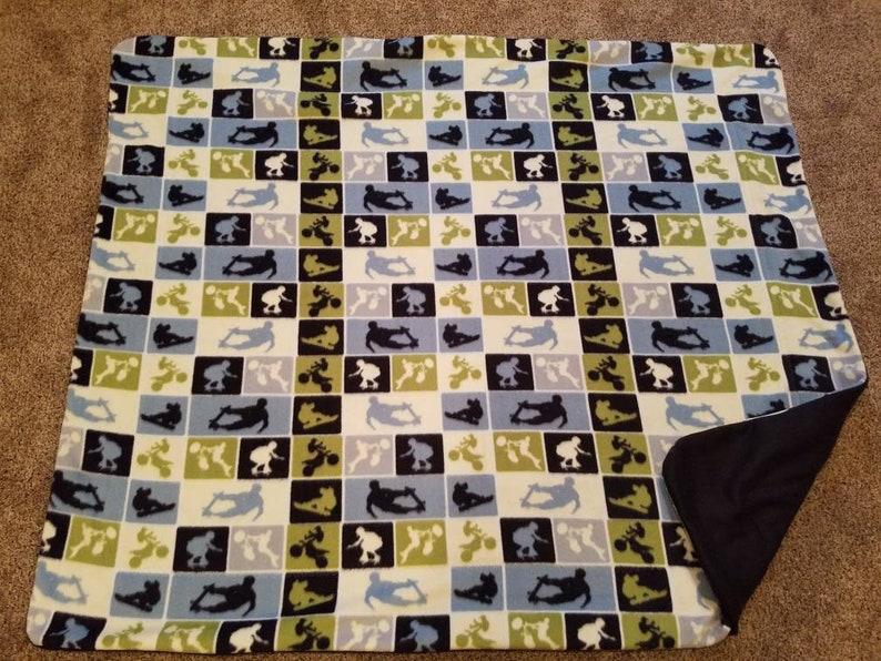 Extreme Sports Fleece Sewn Blanket Skateboard Decor Double image 0