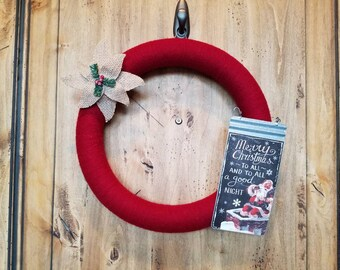 Red Christmas Yarn Wreath, Holiday Yarn Wreath, Custom Holiday Wreath, Personalized Holiday Decor, Christmas Decor, Christmas Door Hanger
