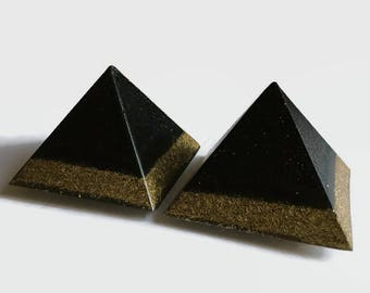 Orgone Pyramid | Set of 2 | Black Tourmaline | Towerbuster | Positive Vibes | EMF Protection | Unique Gift | Paperweight | Desktop Art