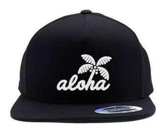 ALOHA TRADES - white on black - Adult 5 panel snapback