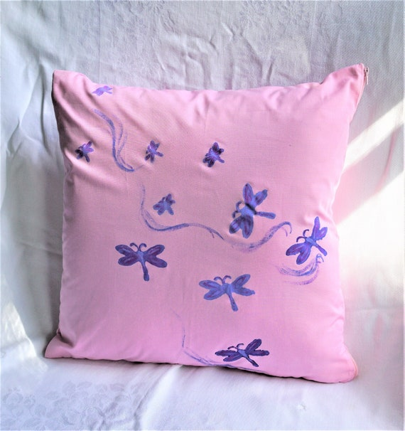 Purple Throw Pillow Cover Hand Made By Linda Dragonflies Decor Blue