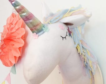 Unicorn Faux Taxidermy - Unicorn Taxidermy -  Unicorn Wall Decor - Animal Wall Mount