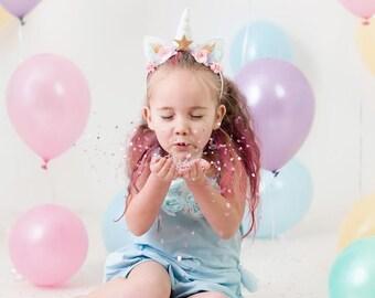 Gold and Pink Girls Birthday - Unicorn Party Headband - Unicorn Headband - Lilly