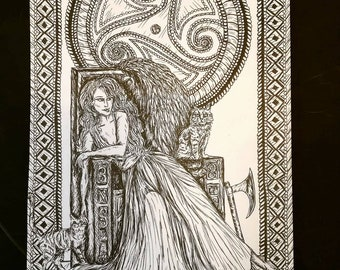 Freya, Norse Goddess of Love, A4 Pen and Ink Illustration Print