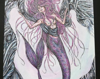 Majorelle, An original A3 mermaid themed pen and ink on watercolour illustration.