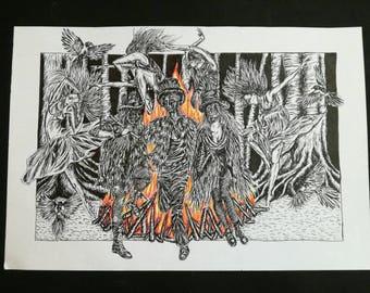 The Dark Morris, A3 Pen and Illustration Print