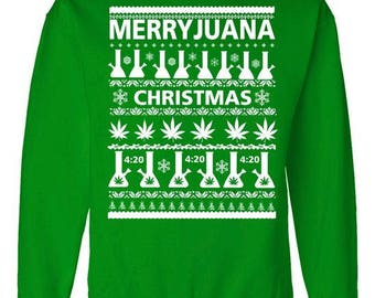 Merryjuana Weed Ugly Christmas Sweater (Ugly Sweater Style)- Crewneck Sweater