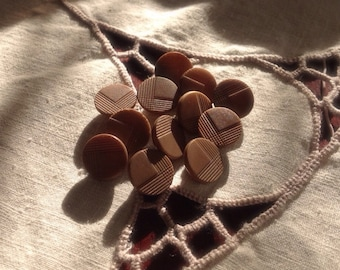 Set of 10 Vegetable Ivory Button. Tagua Nut. Geometric. Deco.