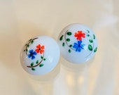 Pair of Hand Painted Vintage Glass Buttons. Flowers.