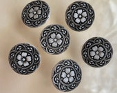 Set of 7 Vintage Glass Flower Buttons. Black on White.