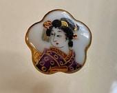 Vintage Japanese Kutani Geisha Button. Hand painted.