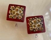 Vintage Hand Painted Wood Buttons. Beautiful Flowers.