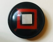 Fantastic Celluloid Button. Red and Black. Pearl OME.