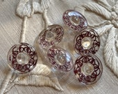 Set of 6 Vintage Clear Glass Buttons. Painted Burgundy on Back.