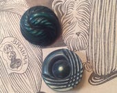 2  Celluloid Buttons. Forest Green. Buffed.