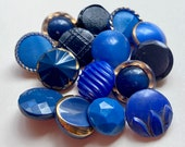 15 Small Vintage Glass Button Collection. (Blues 2)