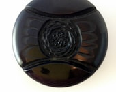 Carved Bakelite Coat Button (chocolate no 3)