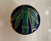 Vintage Cobalt Satsuma Button. Bamboo.