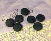 7 Vintage Vegetable Ivory Buttons. Tagua Nut. Imitation Fabric Design. Black.