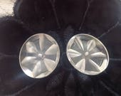 2 Vintage Lucite Buttons. Carved.