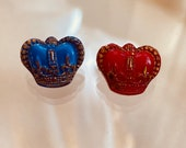 Realistic Glass Coronation Crown. Red. Blue.