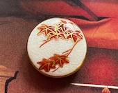 Vintage Satsuma Leaves Button. Japanese Maple. Hand painted.