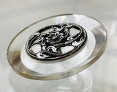Large Vintage Lucite Button. Silver Metal Floral OME.