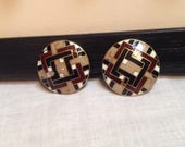 Art Deco Design Champleve Enamel Buttons. Geometric.