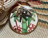 Vintage Satsuma Button. Bamboo.