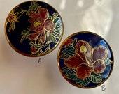 Vintage Satsuma Buttons. Floral. Cobalt. Japanese.