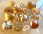 Bunch of 15 Vintage Pearlized Glass Buttons. Babies. Assorted.