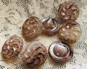 Set of 7 Small Glass Buttons. Little. Intermixed. Lustre.