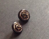 Fantastic Vintage Dimi Black Glass Buttons. Czechoslovakia.