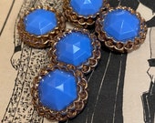 Set of 5 Fab Vintage Glass Buttons. Cerulean Blue and Gold.