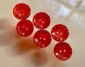 Set of 6 Vintage Glass Buttons. Sew Through. Transparent Red.