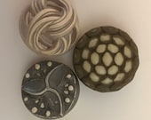 3 Buffed Cellulose Acetate Buttons. Taupe, Spots and Swirls.