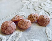 Set of 5 Pink Vintage Glass Buttons. Shimmery.