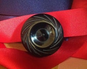 Vintage Carved Bakelite Button (5). Licorice. Black. Deco.