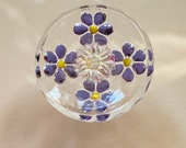 Vintage Clear Glass Button. Painted Back Purple Flowers.