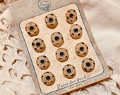 Vintage Set of Tiny Painted Glass Button on Card. Czecho Slovakia.