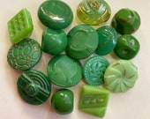 15 Vintage Green Glass Buttons. Instant Collection. Jewellery Making.
