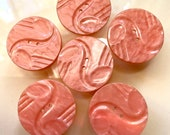 Set of 6 large Vintage Plastic Buttons. Peachy Pink. Casein.
