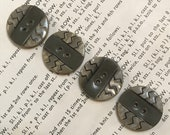 Set of sew through Deco Celluloid Buttons. Geometric.