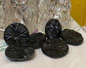 Set of 6 Vintage Black Glass. Imitation Steels .