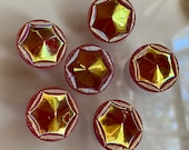 Set of 6 Vintage Red Glass Buttons. Iridescent Gold Aurora