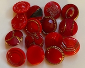 15 Vintage Red Glass Buttons. Instant Collection. Jewellery Making.