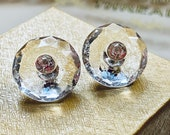 Pair of Beautiful Facetted Crystal Clear Glass with Paste.