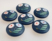 Set of 6 Vintage Hand Painted Wood Buttons. Floral.