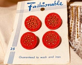 Fashionable Card of 4 Glass Buttons. Vintage. Red and Gold.