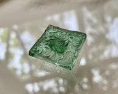 Vintage Transparent Green Glass Button. Flower Pattern.
